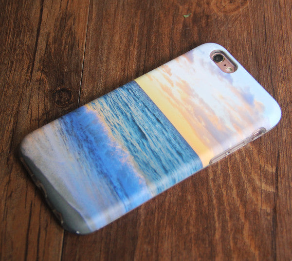 Sea Beach Sunset Tough Protective iPhone XS Max Case Galaxy S8 plus S7 Edge SE Snap Case 243
