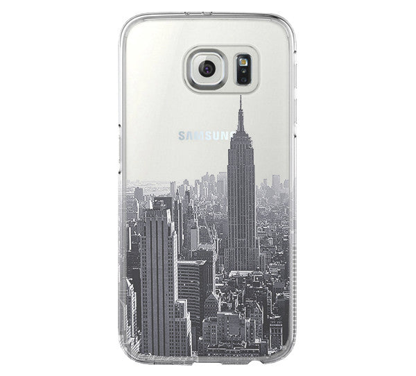 New York Cityscape Samsung Galaxy S6 Edge Clear Case  Galaxy S6 Transparent Case Samsung S5 Hard Cover C0001