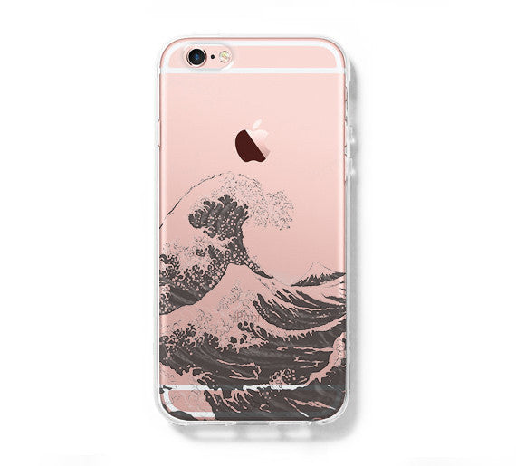 online store 62604 0393f Japanese Ocean Wave iPhone 6s 6 Clear Case iPhone 6s plus Cover iPhone 5S 5  5C Hard Transparent Case C0003