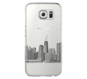Chicago City Skyline Samsung Galaxy S6 Edge Clear Case Galaxy S6 Transparent Case Samsung S5 Hard Cover C0007 - Apple iPhone Xs/iPhone Xr case by Retina Designs