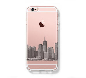 Chicago City Skyline iPhone 6s Clear Case iPhone 6 Cover iPhone 5S 5 5C Hard Transparent Case C0007 - Retina Designs