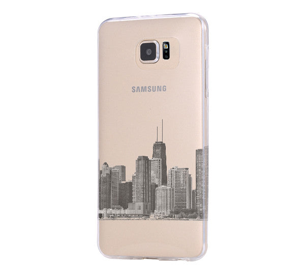 Chicago City Skyline Samsung Galaxy S6 Edge Clear Case Galaxy S6 Transparent Case Samsung S5 Hard Cover C0007