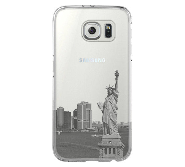 New York Statue of Liberty Skyline Samsung Galaxy S6 Edge Clear Case Galaxy S6 Transparent Case Samsung S5 Hard Cover C0001 - Apple iPhone Xs/iPhone Xr case by Retina Designs