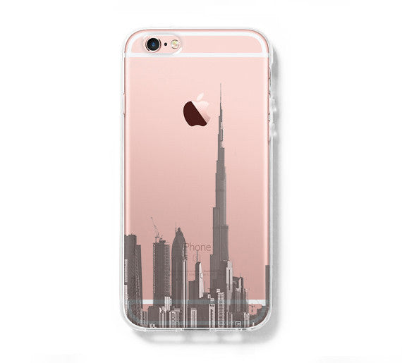 Burj Dubai of the United Arab Emirates Skyline iPhone 6s Clear Case iPhone 6 Cover iPhone 5S 5 5C Hard Transparent Case C013 - Apple iPhone Xs/iPhone Xr case by Retina Designs