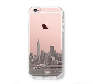 New York City Skyline Hudson River NYC iPhone 6s Clear Case iPhone 6 Cover iPhone 5S 5 5C Hard Transparent Case C015 - Apple iPhone Xs/iPhone Xr case by Retina Designs