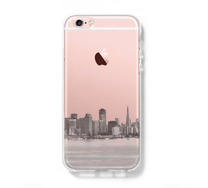 Urban San Francisco Skyline iPhone 6s Clear Case iPhone 6 Cover iPhone 5S 5 5C Hard Transparent Case C017 - Apple iPhone Xs/iPhone Xr case by Retina Designs
