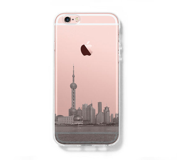 Pudong Skyline Shanghai China iPhone 6s Clear Case iPhone 6 Cover iPhone 5S 5 5C Hard Transparent Case C018 - Apple iPhone Xs/iPhone Xr case by Retina Designs