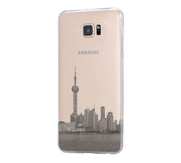 Pudong Skyline Shanghai China Samsung Galaxy S6 Edge Clear Case Galaxy S6 Transparent Case Samsung S5 Hard Cover C018