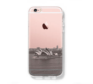 Sydney Opera Skyline iPhone 6s Clear Case iPhone 6 Cover iPhone 5S 5 5C Hard Transparent Case C020 - Apple iPhone Xs/iPhone Xr case by Retina Designs