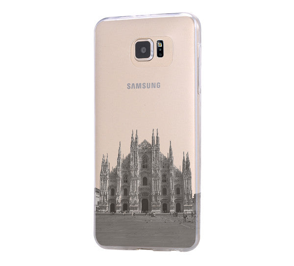 Milan Cathedral Antique Italy Samsung Galaxy S6 Edge Clear Case Galaxy S6 Transparent Case Samsung S5 Hard Cover C022
