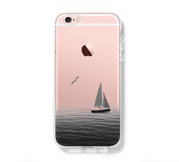 Sailing Boat Seagull iPhone 6s Clear Case iPhone 6 Cover iPhone 5S 5 5C Hard Transparent Case C024 - Apple iPhone Xs/iPhone Xr case by Retina Designs