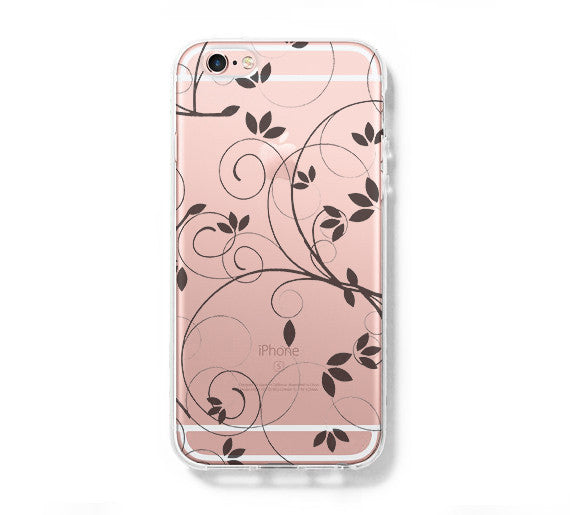 Floral Pattern iPhone 6 Case Clear Hard iPhone 6s Plus Case, Galaxy S6 Edge Case C033