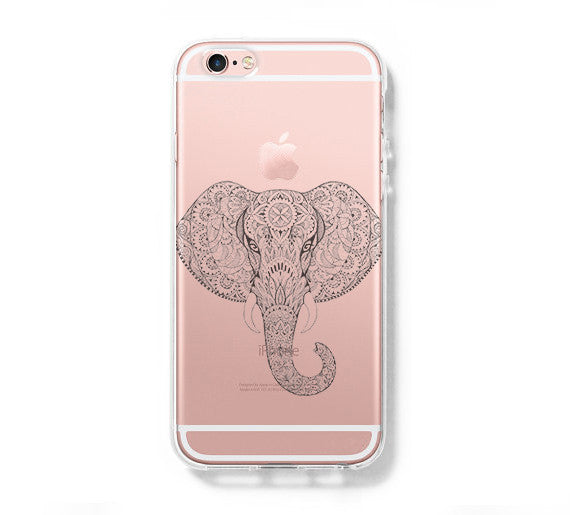 Ethnic Elephant iPhone 6 Case, iPhone 6s Plus Case, Galaxy S6 Edge Clear Hard Case C044 - Apple iPhone Xs/iPhone Xr case by Retina Designs