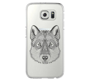 Wolf Galaxy s6 Case Galaxy S6 Edge Case Galaxy S5 Clear Hard case C048