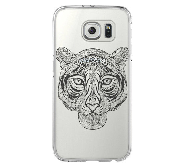 Tiger Tribal Style iPhone 6 Case iPhone 6s Plus Case Galaxy S6 Edge Clear Hard Case C050 - Apple iPhone Xs/iPhone Xr case by Retina Designs