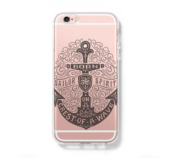 Anchor Sailor Spirit iPhone 6 Case iPhone 6+ SE Case Galaxy S6 Edge Clear Hard Case C057 - Apple iPhone Xs/iPhone Xr case by Retina Designs