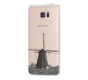 Windmill Landscape iPhone 6 Case iPhone 6+ SE Case Galaxy S6 Edge Clear Hard Case C058