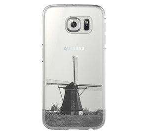 Windmill Landscape iPhone 6 Case iPhone 6+ SE Case Galaxy S6 Edge Clear Hard Case C058 - Apple iPhone Xs/iPhone Xr case by Retina Designs