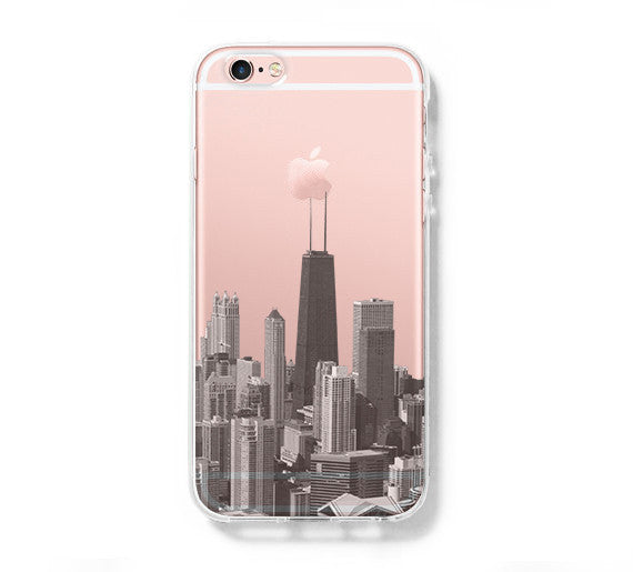 Chicago City Skyline iPhone 6s Case iPhone 6 plus  SE Case Galaxy S6 Edge Clear Hard Case C060 - Apple iPhone Xs/iPhone Xr case by Retina Designs