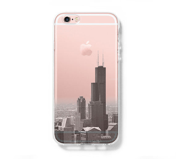 Chicago cityscape iPhone 6s Case 6 plus  SE Case Galaxy S6 Edge Clear Hard Case with Slim Tempered Glass Screen Protector C064 - Apple iPhone Xs/iPhone Xr case by Retina Designs