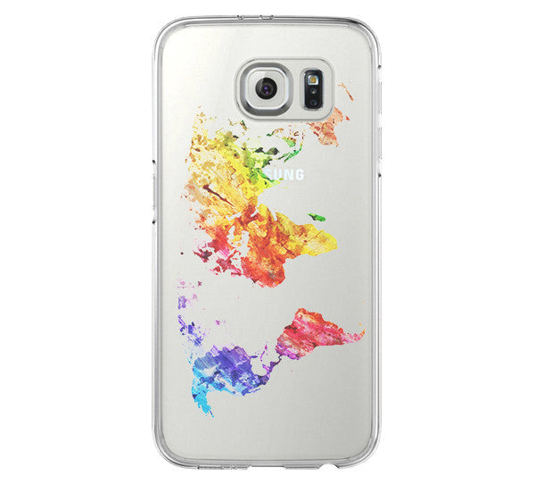 Abstract World Map Samsung Galaxy s6 case, Galaxy S6 Edge Case, Galaxy S5 Clear Hard case C071
