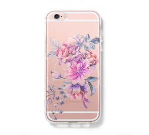 Pastel Flower Clear Hard iPhone 6 Case, iPhone 6s Plus Case, Galaxy S6 Edge Case C072 - Apple iPhone Xs/iPhone Xr case by Retina Designs