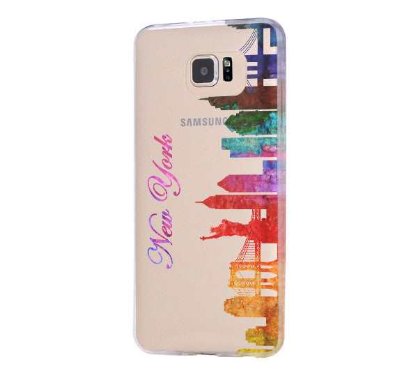 Watercolor New York Skyline Galaxy s6 case Galaxy S6 Edge Case Galaxy S5 Clear Hard case C115
