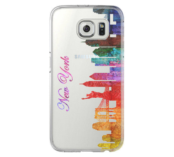 Watercolor New York Skyline Galaxy s6 case Galaxy S6 Edge Case Galaxy S5 Clear Hard case C115 - Apple iPhone Xs/iPhone Xr case by Retina Designs
