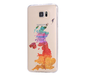 UK Watercolor Map iPhone 6 Case iPhone 6s Plus Case Galaxy S6 Edge Clear Hard Case C123 - Apple iPhone Xs/iPhone Xr case by Retina Designs