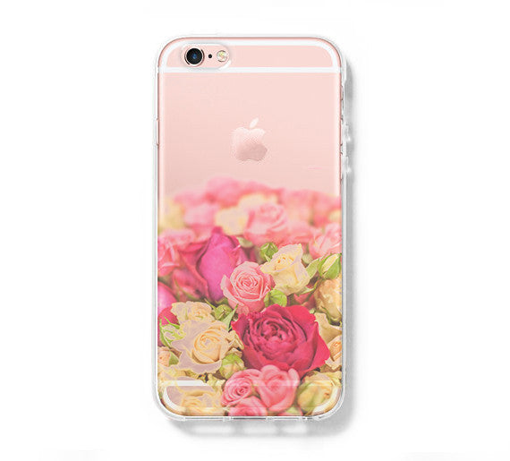 pick up 649c7 ef882 Flowers iPhone 6 Case iPhone 6s Plus Case Galaxy S6 Edge Clear Hard Case  C148