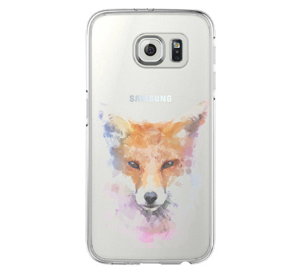 Pastel Fox iPhone 6 Case iPhone 6s Plus Case Galaxy S6 Edge Clear Hard Case C154 - Apple iPhone Xs/iPhone Xr case by Retina Designs