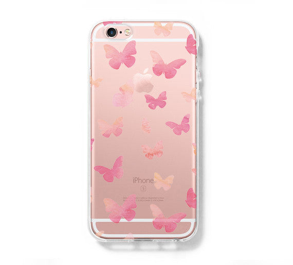 Pink Butterfly iPhone 6s 6 Case iPhone 6+ SE Case Galaxy S6 Edge Clear Hard Case C162 - Retina Designs