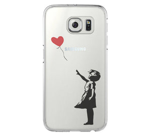 Banksy girl iPhone 6 Case iPhone 6s Plus Case Galaxy S6 Edge Clear Hard Case C163 - Apple iPhone Xs/iPhone Xr case by Retina Designs