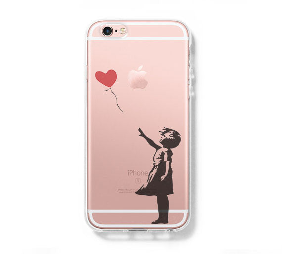 Banksy girl Galaxy s6 Case Galaxy S6 Edge Case Galaxy S5 Clear Hard case C163 - Apple iPhone Xs/iPhone Xr case by Retina Designs