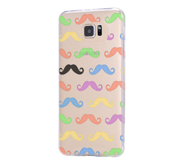 Colorful Mustache iPhone 6 Case iPhone 6s Plus Case Galaxy S6 Edge Clear Hard Case C164 - Apple iPhone Xs/iPhone Xr case by Retina Designs