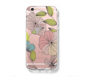 Flowers iPhone 6 Case iPhone 6+ SE Case Galaxy S6 Edge Clear Hard Case C169 - Apple iPhone Xs/iPhone Xr case by Retina Designs