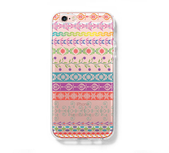 Native Floral Pattern iPhone 6 Case iPhone 6+ SE Case Galaxy S6 Edge Clear Hard Case C170 - Apple iPhone Xs/iPhone Xr case by Retina Designs