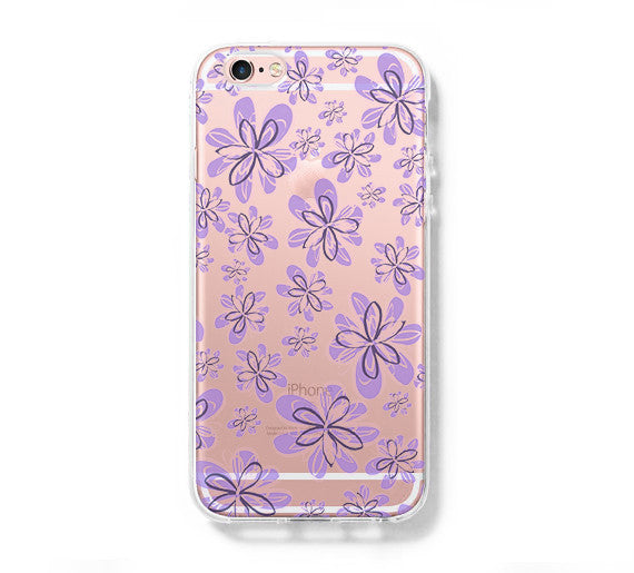 Purple Floral Patter iPhone 6 Case iPhone 6+ SE Case Galaxy S6 Edge Clear Hard Case C171 - Apple iPhone Xs/iPhone Xr case by Retina Designs