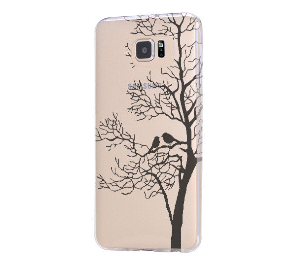 Love Birds Tree iPhone 6 Case Clear Hard iPhone 6s Plus Case, Galaxy S6 Edge Case C031