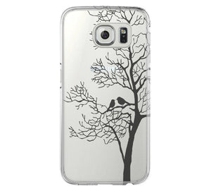 Love Birds Tree Clear Hard Samsung Galaxy s6 case, Galaxy S6 Edge Case, Galaxy S5 case C031 - Apple iPhone Xs/iPhone Xr case by Retina Designs