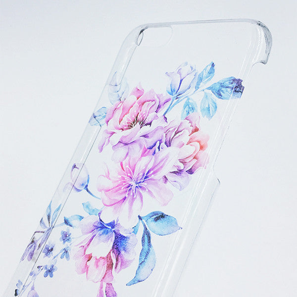 Pastel Flower Clear Hard iPhone 6 Case, iPhone 6s Plus Case, Galaxy S6 Edge Case C072