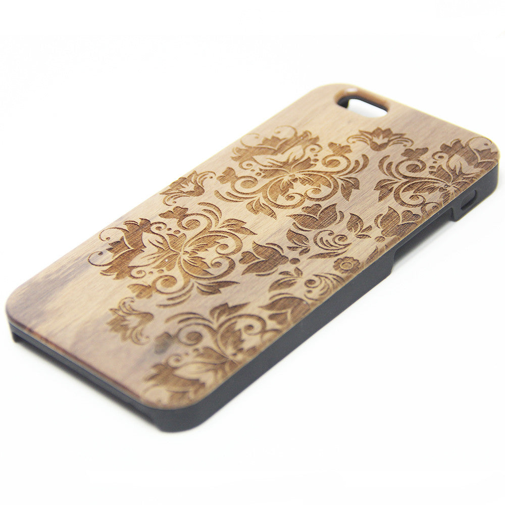 new style 72929 79a45 Retro Floral Real Wood Engraved iPhone 6s Case iPhone 6 Case iPhone 6s 6  Plus Cover Natural Wooden iPhone 5s 5 Case Samsung Galaxy S7 Edge S6 S5  Case ...