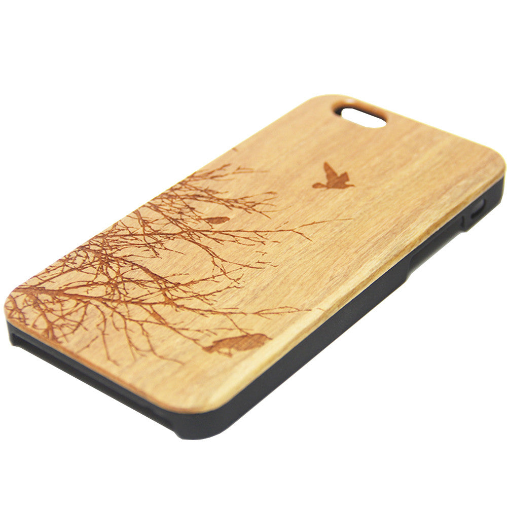 Flying Birds Tree Wood Engraved iPhone 6s Case iPhone 6 Case iPhone 6s 6 Plus Cover Natural Wooden iPhone 5s 5 Case Samsung Galaxy s7 Edge S6 S5 Case D101 - Apple iPhone Xs/iPhone Xr case by Retina Designs