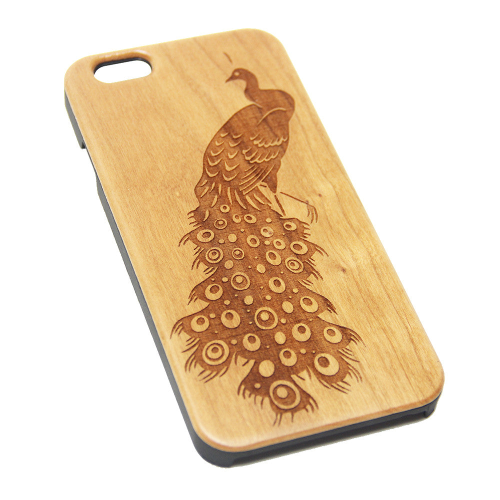 Elegant Peacock Wood Engraved iPhone 6s Case iPhone 6 Case iPhone 6s 6 Plus Cover Natural Wooden iPhone 5s 5 Case Samsung Galaxy S7 Edge S6 S5 Case D107