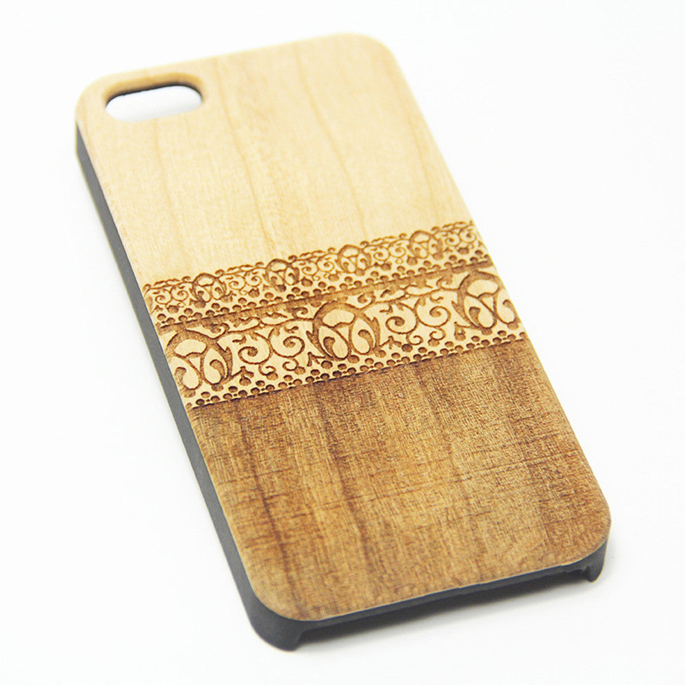 Lace Floral Wood Engraved iPhone 6s Case iPhone 6 Case iPhone 6s 6 Plus Cover Natural Wooden iPhone 5s 5 Case Samsung Galaxy S7 Edge S6 edge S5 Case D111 - Apple iPhone Xs/iPhone Xr case by Retina Designs