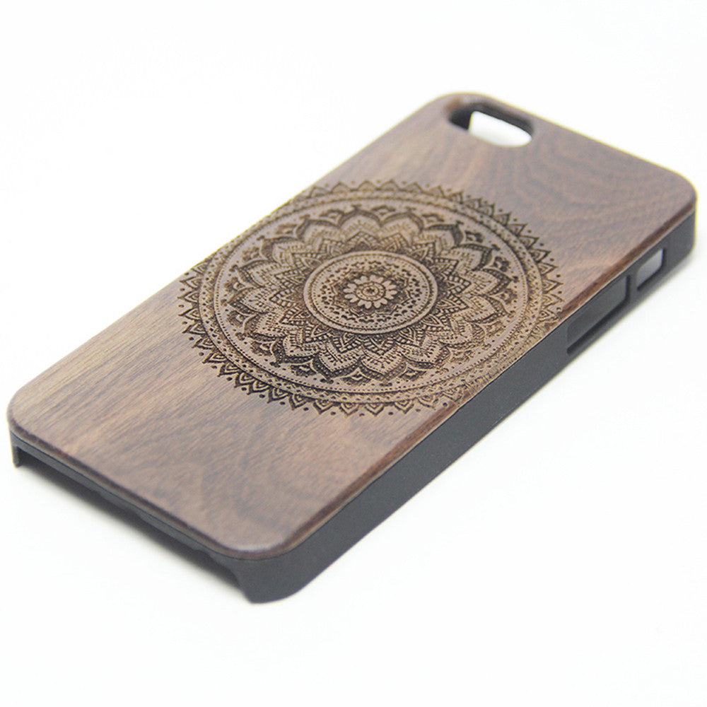 Mandala Datura Floral Wood Engraved iPhone 6s Case iPhone 6 Case iPhone 6s 6 Plus Cover Natural Wooden iPhone 5s 5 Case Samsung Galaxy S6 edge S5 Case D114 - Apple iPhone Xs/iPhone Xr case by Retina Designs