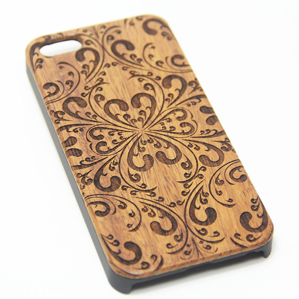 Elegant Damask Floral Wood Engraved iPhone 6s Case iPhone 6 Case iPhone 6s 6 Plus Cover Natural Wooden iPhone 5s 5 Case Samsung Galaxy s7 Edge S6 S5 Case D118