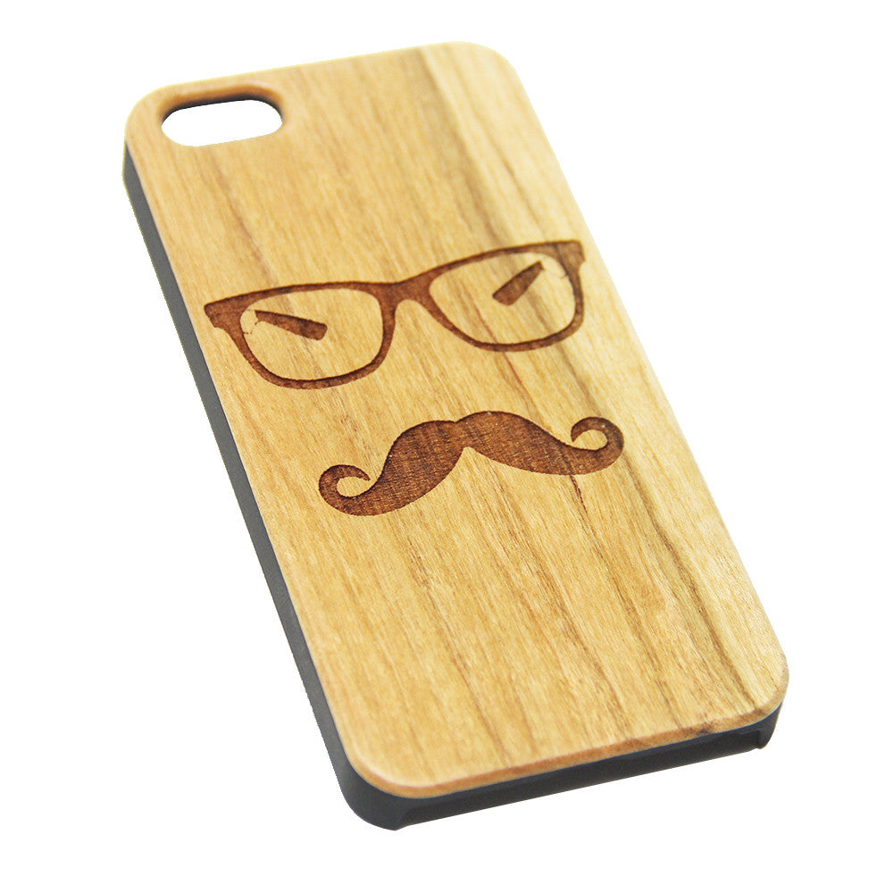 Geek Mustache Glasses Wood Engraved iPhone 6s Case iPhone 6 Case iPhone 6s 6 Plus Cover Natural Wooden iPhone 5s 5 Case Samsung Galaxy S6 S5 Case D120 - Apple iPhone Xs/iPhone Xr case by Retina Designs