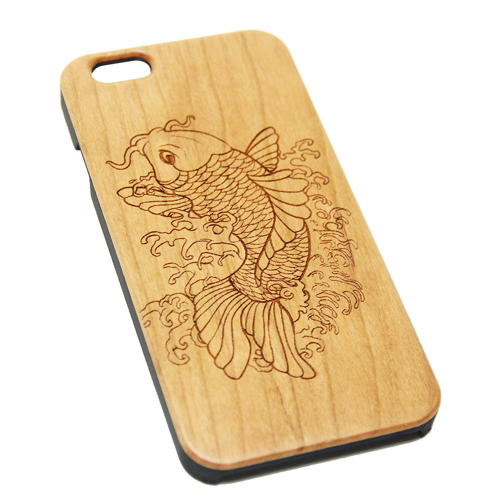 Fish Koi Wood Engraved iPhone 6s Case iPhone 6 Case iPhone 6s 6 Plus Cover Natural Wooden iPhone 5s 5 Case Samsung Galaxy S6 S5 Case D122 - Apple iPhone Xs/iPhone Xr case by Retina Designs