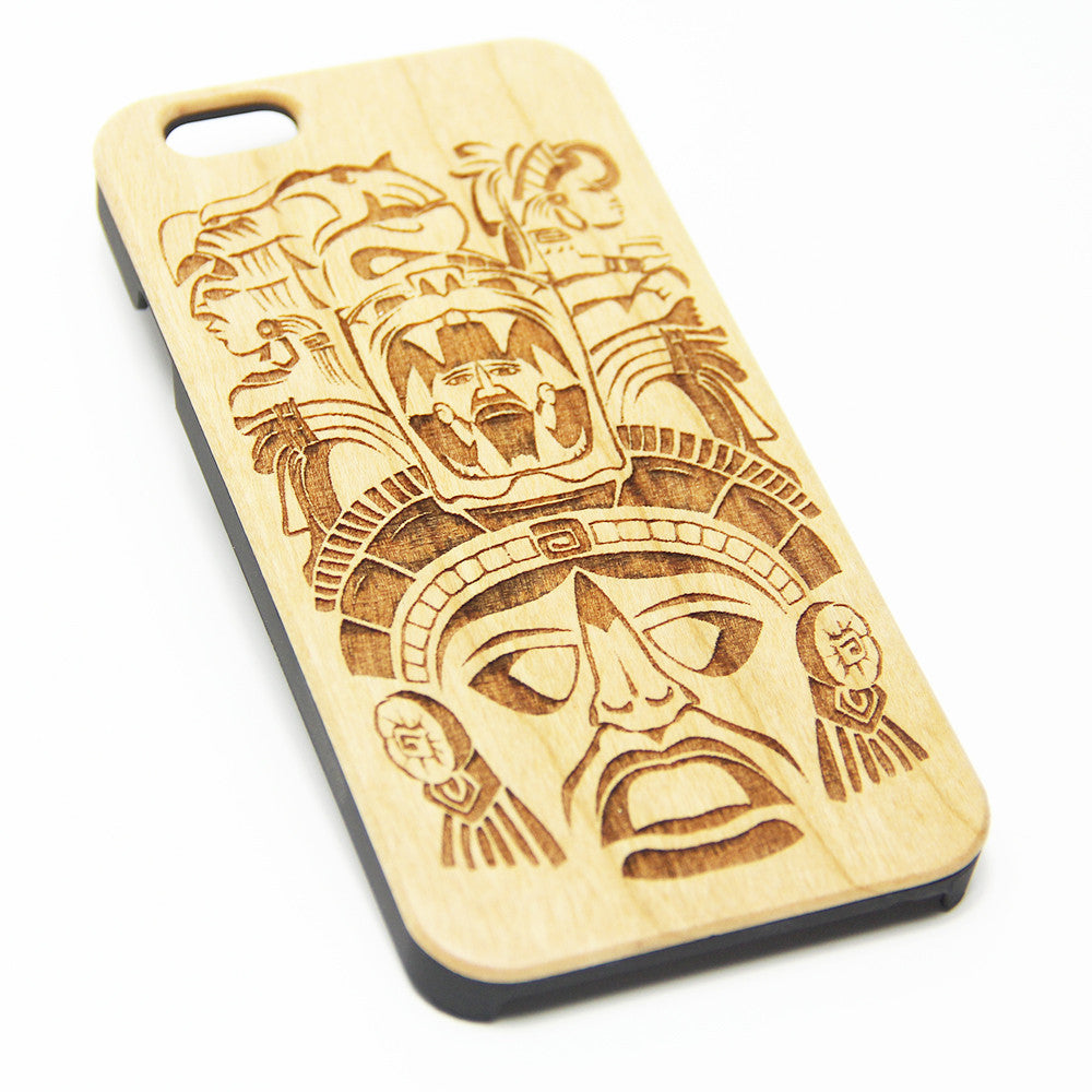 Aztec Maya Wood Engraved iPhone 6s Case iPhone 6 Case iPhone 6s 6 Plus Cover Natural Wooden iPhone 5s 5 Case Samsung Galaxy S7 Edge S6  S5 Case D123